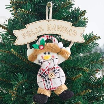 Vosarea 3 Stücke Spanische Frohe Weihnachten Hängeschild mit Schneemann Rentier Weihnachtsmann Figur Holz Türschild Weihnachtsbaumschmuck Weihnachtsbaum Anhänger für Haustür Deko Wanddeko - 2
