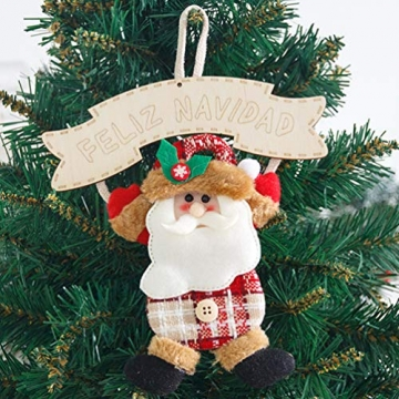 Vosarea 3 Stücke Spanische Frohe Weihnachten Hängeschild mit Schneemann Rentier Weihnachtsmann Figur Holz Türschild Weihnachtsbaumschmuck Weihnachtsbaum Anhänger für Haustür Deko Wanddeko - 3