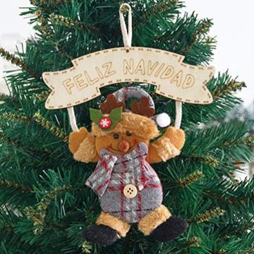 Vosarea 3 Stücke Spanische Frohe Weihnachten Hängeschild mit Schneemann Rentier Weihnachtsmann Figur Holz Türschild Weihnachtsbaumschmuck Weihnachtsbaum Anhänger für Haustür Deko Wanddeko - 4