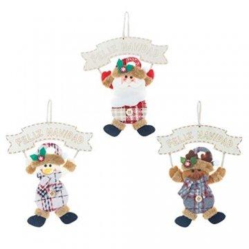 Vosarea 3 Stücke Spanische Frohe Weihnachten Hängeschild mit Schneemann Rentier Weihnachtsmann Figur Holz Türschild Weihnachtsbaumschmuck Weihnachtsbaum Anhänger für Haustür Deko Wanddeko - 1