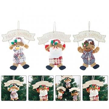 Vosarea 3 Stücke Spanische Frohe Weihnachten Hängeschild mit Schneemann Rentier Weihnachtsmann Figur Holz Türschild Weihnachtsbaumschmuck Weihnachtsbaum Anhänger für Haustür Deko Wanddeko - 5