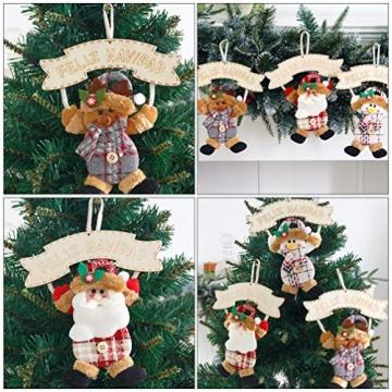 Vosarea 3 Stücke Spanische Frohe Weihnachten Hängeschild mit Schneemann Rentier Weihnachtsmann Figur Holz Türschild Weihnachtsbaumschmuck Weihnachtsbaum Anhänger für Haustür Deko Wanddeko - 6