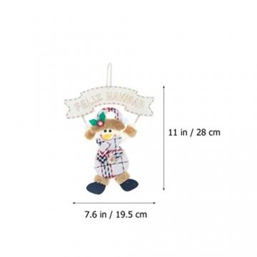 Vosarea 3 Stücke Spanische Frohe Weihnachten Hängeschild mit Schneemann Rentier Weihnachtsmann Figur Holz Türschild Weihnachtsbaumschmuck Weihnachtsbaum Anhänger für Haustür Deko Wanddeko - 7