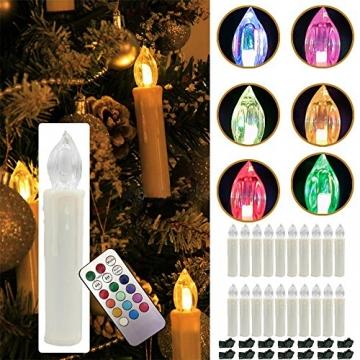 Weihnachtskerzen LED mit Fernbedienung 30 Stück Kabellos Kerzen für Weihnachtsbaum Weihnachtsdeko Hochzeitsdeko Geburtstags Party (30 Stück) - 8