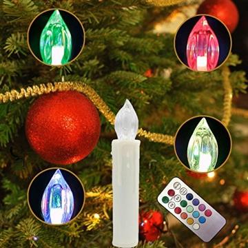 Weihnachtskerzen LED mit Fernbedienung 30 Stück Kabellos Kerzen für Weihnachtsbaum Weihnachtsdeko Hochzeitsdeko Geburtstags Party (30 Stück) - 9