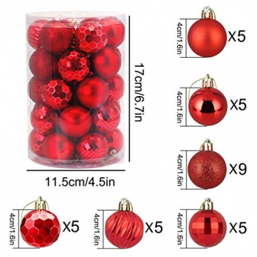 Weihnachtskugeln 34, Rot Weihnachtsbaumkugeln Kunststoff Weihnachtsbaum Kugeln Deko für Weihnachtsbaumschmuck, Bruchsichere Christbaumkugeln Christbaumschmuck Weihnachtsdeko Weihnachten 4cm - 2