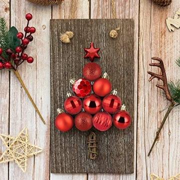 Weihnachtskugeln 34, Rot Weihnachtsbaumkugeln Kunststoff Weihnachtsbaum Kugeln Deko für Weihnachtsbaumschmuck, Bruchsichere Christbaumkugeln Christbaumschmuck Weihnachtsdeko Weihnachten 4cm - 4