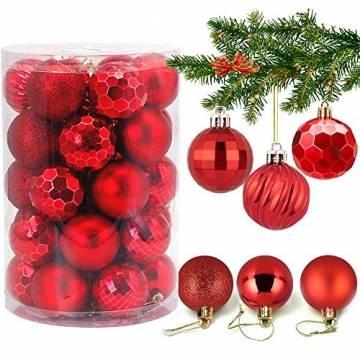 Weihnachtskugeln 34, Rot Weihnachtsbaumkugeln Kunststoff Weihnachtsbaum Kugeln Deko für Weihnachtsbaumschmuck, Bruchsichere Christbaumkugeln Christbaumschmuck Weihnachtsdeko Weihnachten 4cm - 1