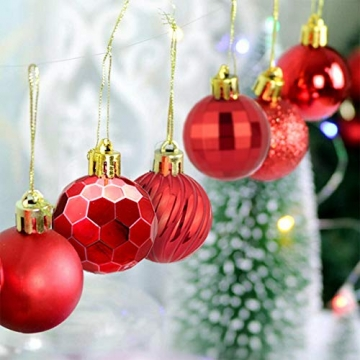 Weihnachtskugeln 34, Rot Weihnachtsbaumkugeln Kunststoff Weihnachtsbaum Kugeln Deko für Weihnachtsbaumschmuck, Bruchsichere Christbaumkugeln Christbaumschmuck Weihnachtsdeko Weihnachten 4cm - 6