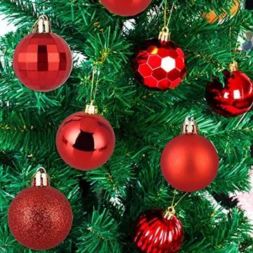 Weihnachtskugeln 34, Rot Weihnachtsbaumkugeln Kunststoff Weihnachtsbaum Kugeln Deko für Weihnachtsbaumschmuck, Bruchsichere Christbaumkugeln Christbaumschmuck Weihnachtsdeko Weihnachten 4cm - 7