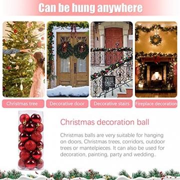 Weihnachtskugeln Baumschmuck, Glas Christbaumkugeln 24 Stück Dekokugeln Weihnachten, Matt Glänzend Glitzernd Dekokugeln für Party, Weihnachten Hochzeitsfest, Weihnachtsschmuck (rot) - 3