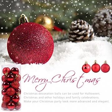 Weihnachtskugeln Baumschmuck, Glas Christbaumkugeln 24 Stück Dekokugeln Weihnachten, Matt Glänzend Glitzernd Dekokugeln für Party, Weihnachten Hochzeitsfest, Weihnachtsschmuck (rot) - 4