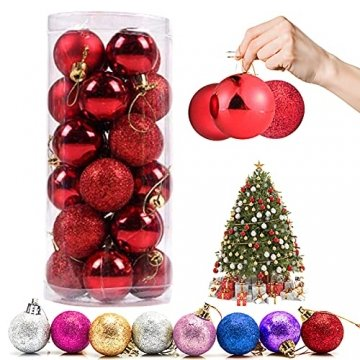 Weihnachtskugeln Baumschmuck, Glas Christbaumkugeln 24 Stück Dekokugeln Weihnachten, Matt Glänzend Glitzernd Dekokugeln für Party, Weihnachten Hochzeitsfest, Weihnachtsschmuck (rot) - 1