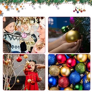 Weihnachtskugeln Baumschmuck, Glas Christbaumkugeln 24 Stück Dekokugeln Weihnachten, Matt Glänzend Glitzernd Dekokugeln für Party, Weihnachten Hochzeitsfest, Weihnachtsschmuck (rot) - 5