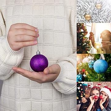 Weihnachtskugeln Baumschmuck, Glas Christbaumkugeln 24 Stück Dekokugeln Weihnachten, Matt Glänzend Glitzernd Dekokugeln für Party, Weihnachten Hochzeitsfest, Weihnachtsschmuck (rot) - 6