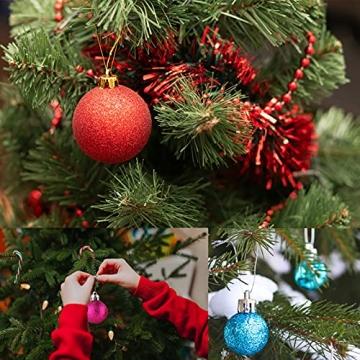 Weihnachtskugeln Baumschmuck, Glas Christbaumkugeln 24 Stück Dekokugeln Weihnachten, Matt Glänzend Glitzernd Dekokugeln für Party, Weihnachten Hochzeitsfest, Weihnachtsschmuck (rot) - 7