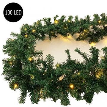 XXL Weihnachtsbeleuchtung Girlande beleuchtet Tannengirlande 100 LED Lichterkette 810 cm Weihnachten innen und außen - 2