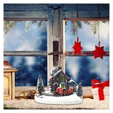 YEJIE Miniaturmodell Kreative Farbe LED Beleuchtung Weihnachten small Train Village Haus leuchtende Landschaft Schnee Figuren Harz Desktop Ornament Dekorationsverzierungen - 2