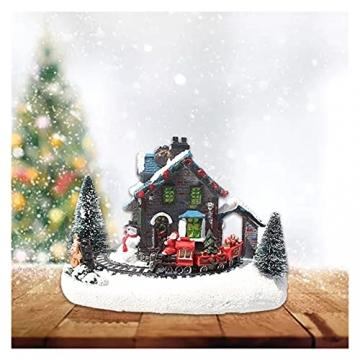 YEJIE Miniaturmodell Kreative Farbe LED Beleuchtung Weihnachten small Train Village Haus leuchtende Landschaft Schnee Figuren Harz Desktop Ornament Dekorationsverzierungen - 3