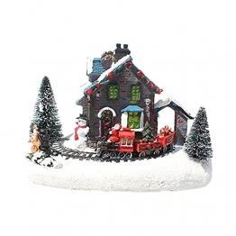 YEJIE Miniaturmodell Kreative Farbe LED Beleuchtung Weihnachten small Train Village Haus leuchtende Landschaft Schnee Figuren Harz Desktop Ornament Dekorationsverzierungen - 1