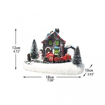 YEJIE Miniaturmodell Kreative Farbe LED Beleuchtung Weihnachten small Train Village Haus leuchtende Landschaft Schnee Figuren Harz Desktop Ornament Dekorationsverzierungen - 5