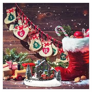 YEJIE Miniaturmodell Kreative Farbe LED Beleuchtung Weihnachten small Train Village Haus leuchtende Landschaft Schnee Figuren Harz Desktop Ornament Dekorationsverzierungen - 6