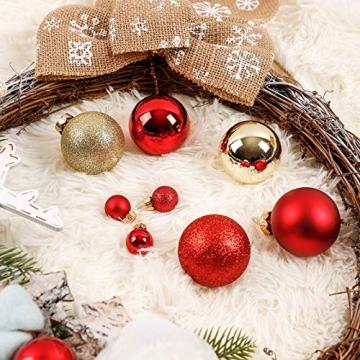 Yorbay Weihnachtskugeln 44er Set Christbaumkugeln aus Glas mit Aufhänger, Weihnachtsdeko für Weihnachten, Weihnachtsbaum, Tannenbaum, Christmasbaum(Mehrweg) (Rot+Gold) - 5