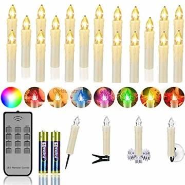 ZIYOUDOLI 20er RGB LED Kerzen Weihnachtskerzen IP64 wasserdicht , Dimmbar mit Fernbedienung und Timerfunktion,als Dekoration für Weihnachten,Weihnachtsbaum, Weinachten LED Kerzen Lichterkette - 1