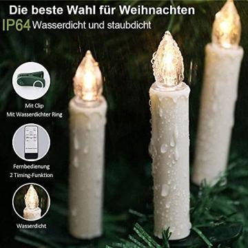 ZIYOUDOLI 20er RGB LED Kerzen Weihnachtskerzen IP64 wasserdicht , Dimmbar mit Fernbedienung und Timerfunktion,als Dekoration für Weihnachten,Weihnachtsbaum, Weinachten LED Kerzen Lichterkette - 6