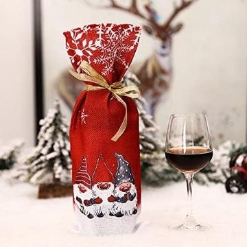 Zxqiang Weihnachtsschmuck,Champagner-weinflaschen-Set,weinflaschen-Tasche Mit Weihnachtsdruck,tischdekoration,Restaurant-esstisch,kreative Geschenke(Farbe:Rot, Grau),20pcs - 2
