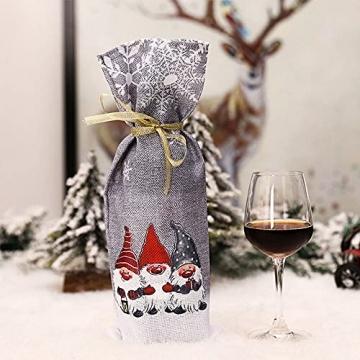 Zxqiang Weihnachtsschmuck,Champagner-weinflaschen-Set,weinflaschen-Tasche Mit Weihnachtsdruck,tischdekoration,Restaurant-esstisch,kreative Geschenke(Farbe:Rot, Grau),20pcs - 3