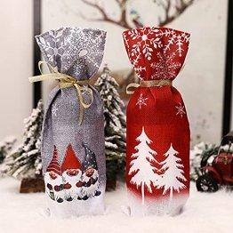 Zxqiang Weihnachtsschmuck,Champagner-weinflaschen-Set,weinflaschen-Tasche Mit Weihnachtsdruck,tischdekoration,Restaurant-esstisch,kreative Geschenke(Farbe:Rot, Grau),20pcs - 1
