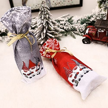 Zxqiang Weihnachtsschmuck,Champagner-weinflaschen-Set,weinflaschen-Tasche Mit Weihnachtsdruck,tischdekoration,Restaurant-esstisch,kreative Geschenke(Farbe:Rot, Grau),20pcs - 4
