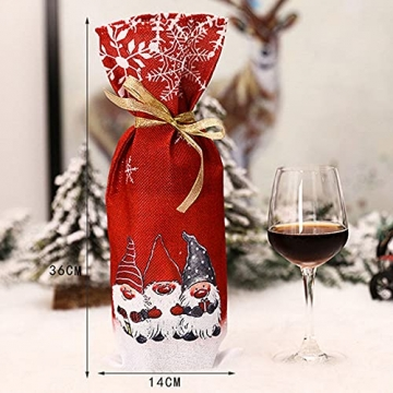 Zxqiang Weihnachtsschmuck,Champagner-weinflaschen-Set,weinflaschen-Tasche Mit Weihnachtsdruck,tischdekoration,Restaurant-esstisch,kreative Geschenke(Farbe:Rot, Grau),20pcs - 5