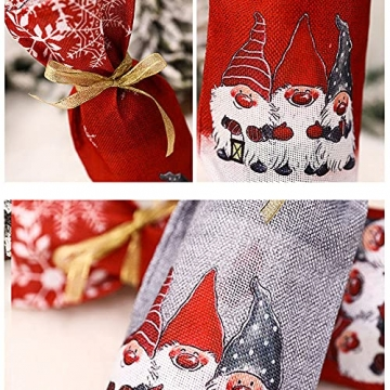 Zxqiang Weihnachtsschmuck,Champagner-weinflaschen-Set,weinflaschen-Tasche Mit Weihnachtsdruck,tischdekoration,Restaurant-esstisch,kreative Geschenke(Farbe:Rot, Grau),20pcs - 6