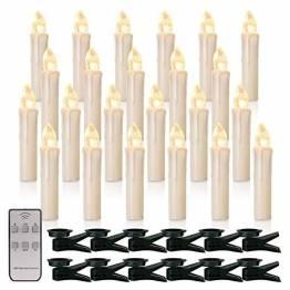 20x Weinachten LED Kerzen Kabellos Weihnachtskerzen Christbaumkerzen Milchweisse Hülle Dimmen Flackern Baumkerze-Set,Kerzen Lichtfarbe warmweiß - 1