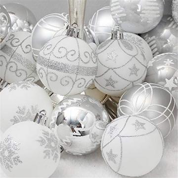 24 Stück Weihnachtskugeln Baumkugeln, Morbuy Weihnachtsdekorationen Baumschmuck für Weinachtsbaum Tannenbaum, Weihnachten, Hochzeit, Jubiläum, Party, Feier usw (24pc,Weiß) - 2