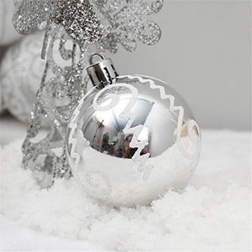 24 Stück Weihnachtskugeln Baumkugeln, Morbuy Weihnachtsdekorationen Baumschmuck für Weinachtsbaum Tannenbaum, Weihnachten, Hochzeit, Jubiläum, Party, Feier usw (24pc,Weiß) - 3