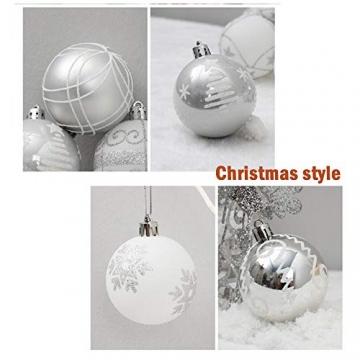 24 Stück Weihnachtskugeln Baumkugeln, Morbuy Weihnachtsdekorationen Baumschmuck für Weinachtsbaum Tannenbaum, Weihnachten, Hochzeit, Jubiläum, Party, Feier usw (24pc,Weiß) - 4