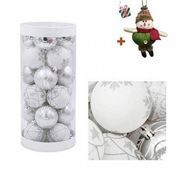24 Stück Weihnachtskugeln Baumkugeln, Morbuy Weihnachtsdekorationen Baumschmuck für Weinachtsbaum Tannenbaum, Weihnachten, Hochzeit, Jubiläum, Party, Feier usw (24pc,Weiß) - 1