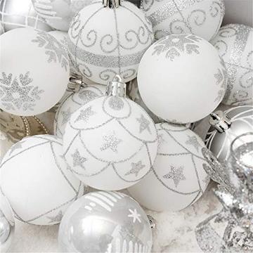 24 Stück Weihnachtskugeln Baumkugeln, Morbuy Weihnachtsdekorationen Baumschmuck für Weinachtsbaum Tannenbaum, Weihnachten, Hochzeit, Jubiläum, Party, Feier usw (24pc,Weiß) - 5