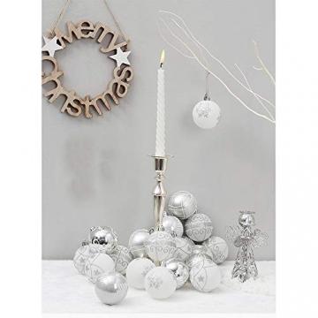 24 Stück Weihnachtskugeln Baumkugeln, Morbuy Weihnachtsdekorationen Baumschmuck für Weinachtsbaum Tannenbaum, Weihnachten, Hochzeit, Jubiläum, Party, Feier usw (24pc,Weiß) - 6