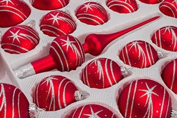 39 TLG. Glas-Weihnachtskugeln Set in Classic Rot Silber Komet - Christbaumkugeln - Weihnachtsschmuck-Christbaumschmuck - 2
