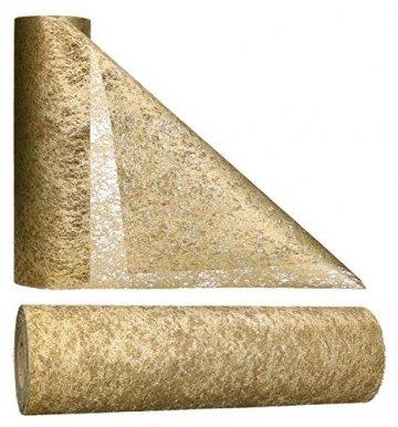 AmaCasa Vlies Tischläufer 30cm/25 Meter Tischband Hochzeit Kommunion (30cm, Gold) - 1