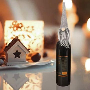 Amosfun 3 Stücke Weihnachten Weintüten Flaschentüten Geschenktüten Weihnachtstüten Weinflasche Taschen Beutel Verpackung Tischdeko Weihnachtsdeko für Wein Prosecco und Champagner - 2