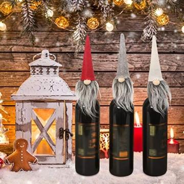 Amosfun 3 Stücke Weihnachten Weintüten Flaschentüten Geschenktüten Weihnachtstüten Weinflasche Taschen Beutel Verpackung Tischdeko Weihnachtsdeko für Wein Prosecco und Champagner - 3