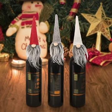 Amosfun 3 Stücke Weihnachten Weintüten Flaschentüten Geschenktüten Weihnachtstüten Weinflasche Taschen Beutel Verpackung Tischdeko Weihnachtsdeko für Wein Prosecco und Champagner - 4