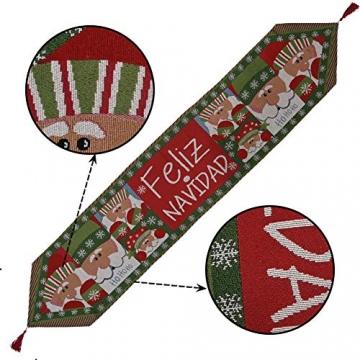 Blanketswarm Tischläufer, Weihnachts-Tischwäsche, Weihnachtsmann, Elch, Tischdecke, Tischdecke für Familienessen, Party, Zuhause, Urlaub, Dekoration, 35 x 180 cm - 4