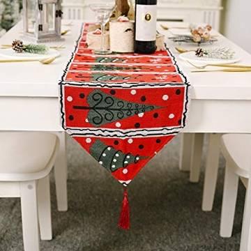 Blanketswarm Tischläufer, Weihnachts-Tischwäsche, Weihnachtsmann, Elch, Tischdecke, Tischdecke für Familienessen, Party, Zuhause, Urlaub, Dekoration, 35 x 180 cm - 1