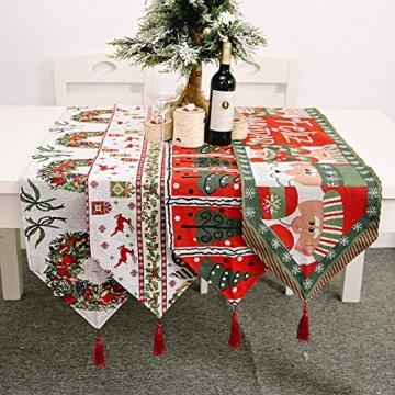 Blanketswarm Tischläufer, Weihnachts-Tischwäsche, Weihnachtsmann, Elch, Tischdecke, Tischdecke für Familienessen, Party, Zuhause, Urlaub, Dekoration, 35 x 180 cm - 2